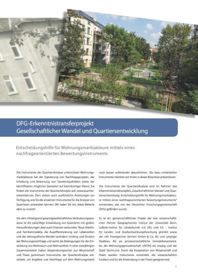 Titelblatt der Broschüre zur QuartiersAnalyse